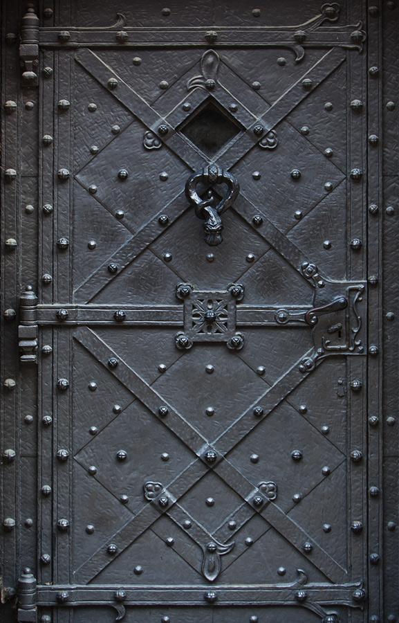двери уличные металлические с кованой полосой